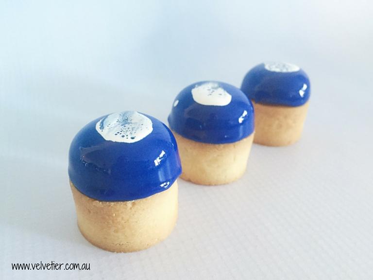 Deep Blue Mirror Glaze Double Decker Tarts By Velvetier Brisbane Dessert