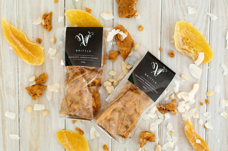 Macadamia Mango and Coconut Brittle by Velvetier Brisbane Confectionary