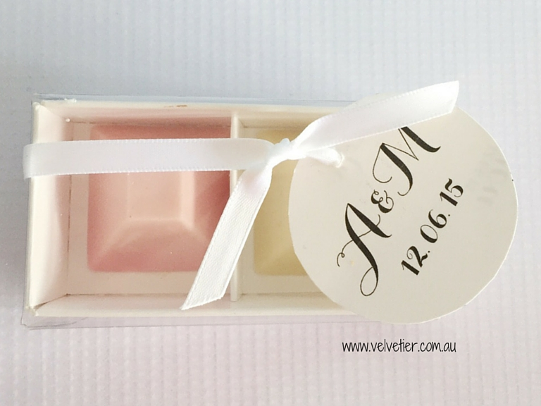 2 chocolate box Velvetier Brisbane Bomboniere wedding favour party favour