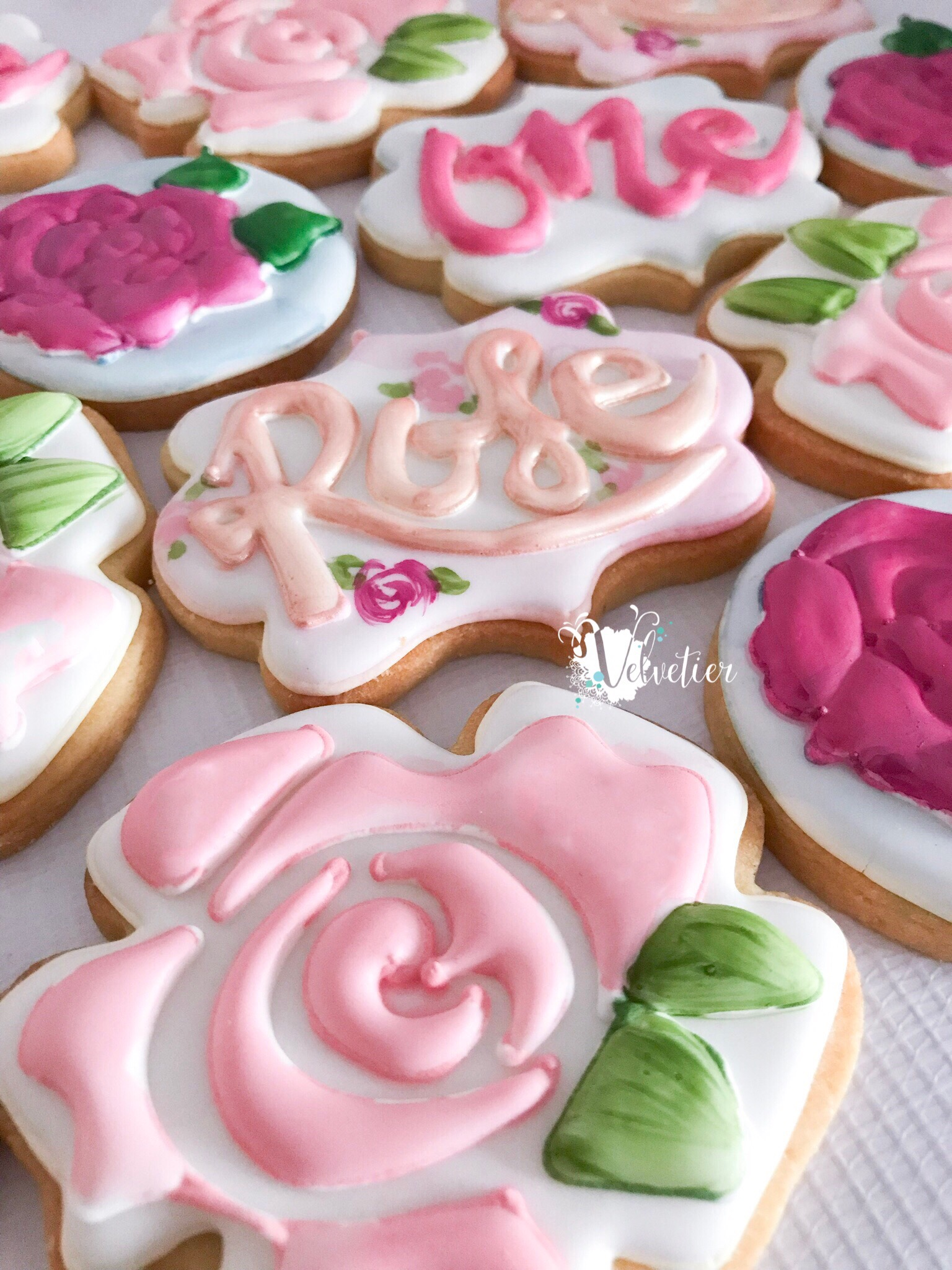 shades of pink rose first birthday cookies by velvetier brisbane 1