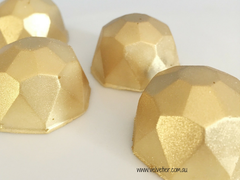 Gold gem chocolates Velvetier Brisbane custom chocolates