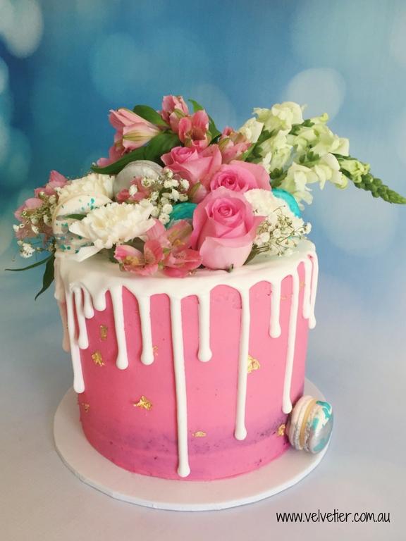 Pink floral drip cake by Velvetier Brisbane Cake