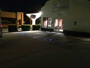 Newly painted parking lot at night