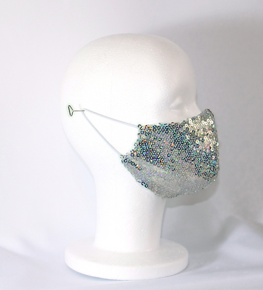 Silver Holographic Disco Sequin Mask