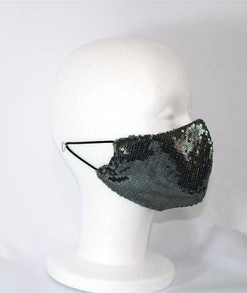 Classic Gunmetal Sequin Mask