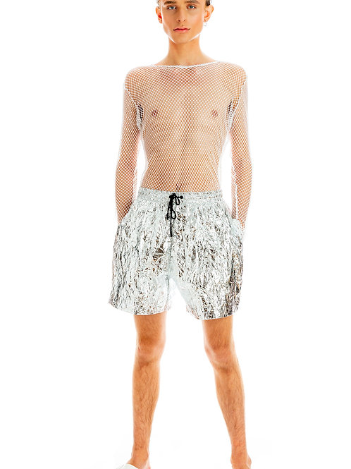 Metallic Foil Lunar Moon Shorts