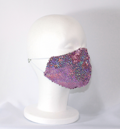 Pink Holographic Disco Sequin Mask