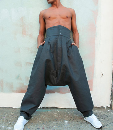 Men's Vegan Leather High WaistTrousers
