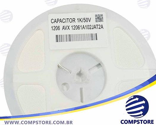 CAPACITOR 1K/50V 1206  AVX 12061A102JAT2A