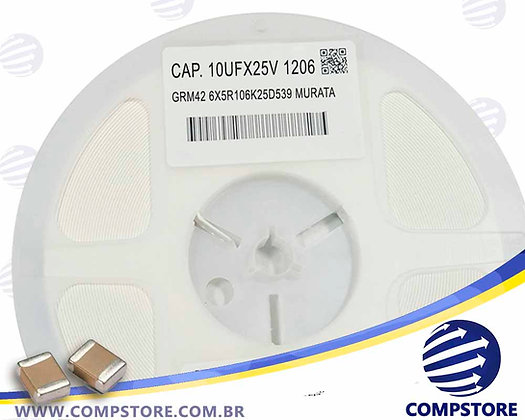 CAP. 10UFX25V 1206 GRM42 6X5R106K25D539 MURATA