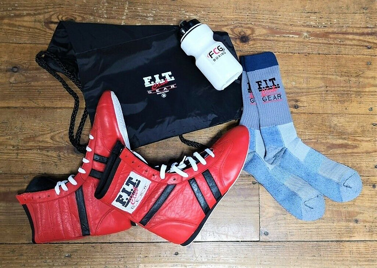Boxing boots, socks, bag and sports bottle