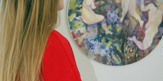 Admiring the artwork