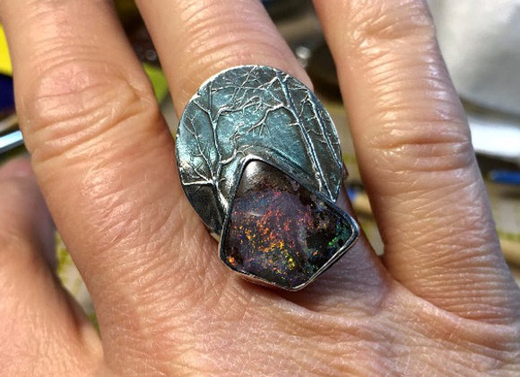 glow in the forest opal ring