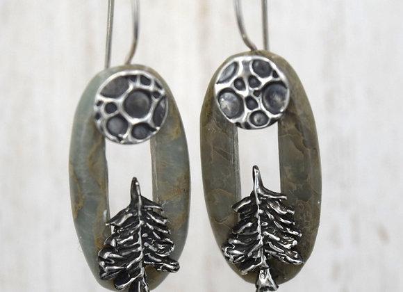 Mother Tree- Light green jasper- Earrings