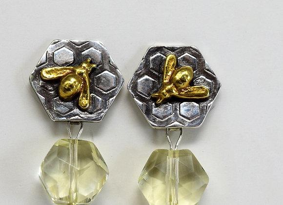 Golden Bee & Citrine Neo Geo Earrings