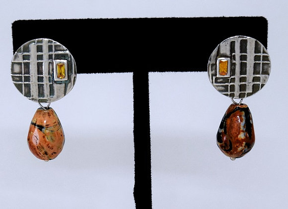 Neo Geo round jasper earrings