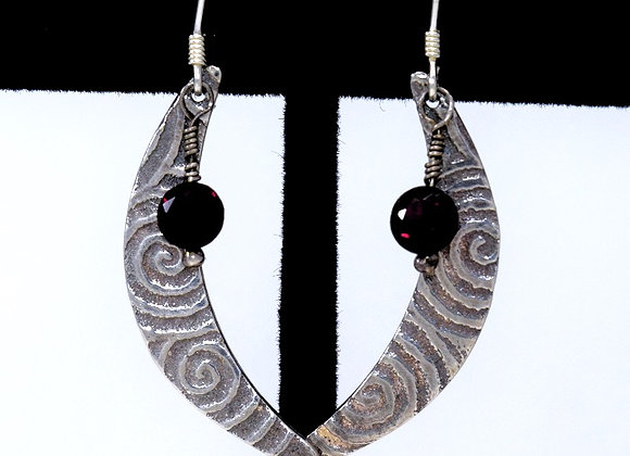 Ancient Spiral Crescent Moon Earrings