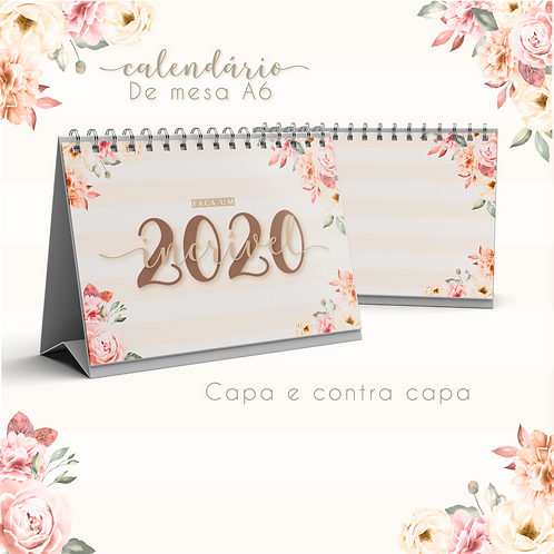 Calendário de Mesa Floral 2020 (A6)