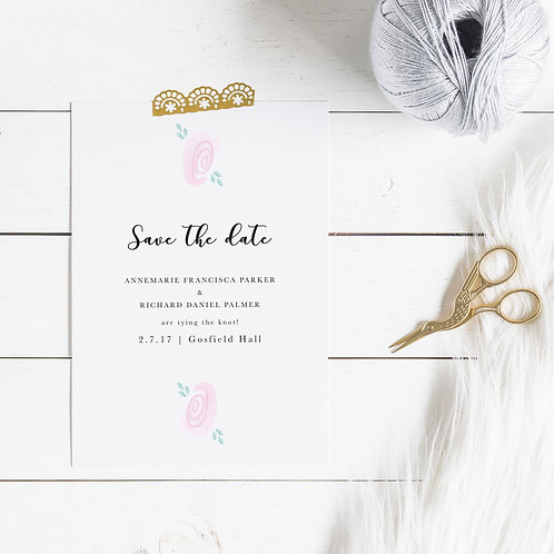 Pretty Pink Personalised Save The Date Card