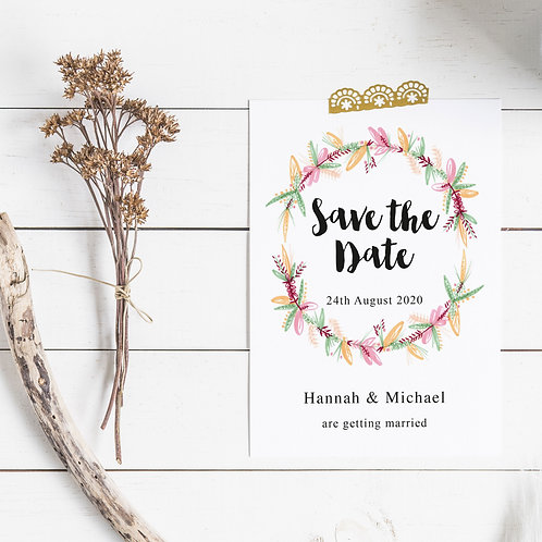 Pretty Wreath Personalised Save The Date Card