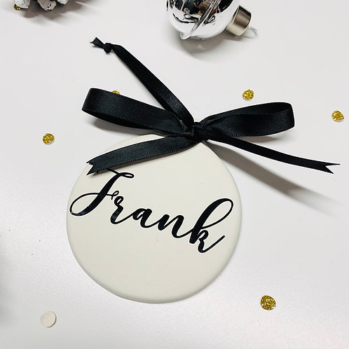 Personalised Ceramic Flat Round Christmas Bauble