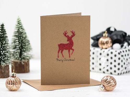 Glitter Reindeer Christmas card.