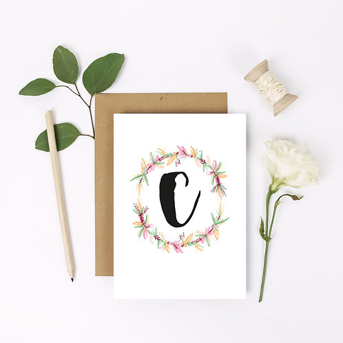 Initial Flower Wreath Card