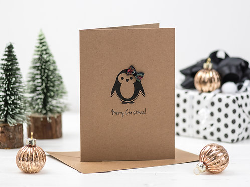 Penguin Tartan Bow Christmas card