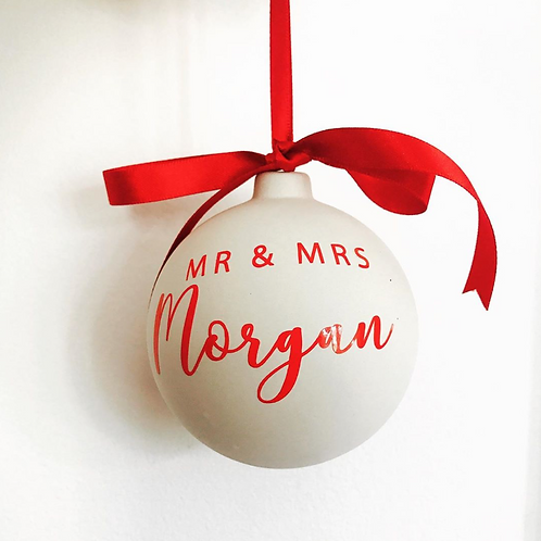 Mr & Mrs Personalised Bauble, First Christmas as Mr and Mrs, Wedding Gift