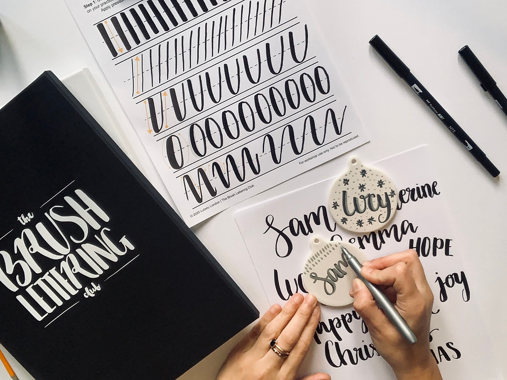 Brush lettering subscription box: The Ultimate Christmas baubles and wrapping paper