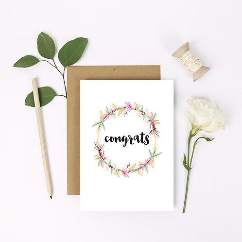 Congrats Flower Wreath Card