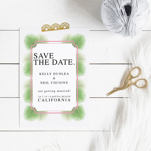 Palm Springs Personalised Save The Date Card