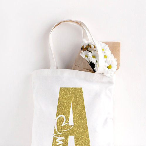 Initial Cotton Tote Bag