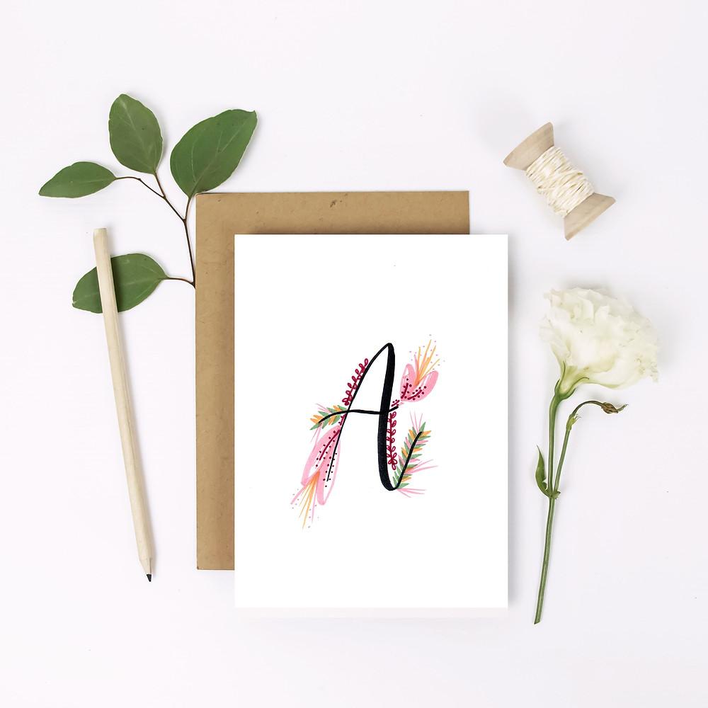 floral initial personalised brush letter card lubelu london