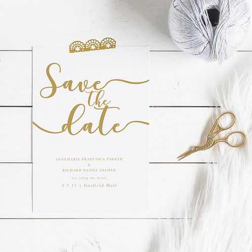 Traditional Elegance Personalised Save The Date Card