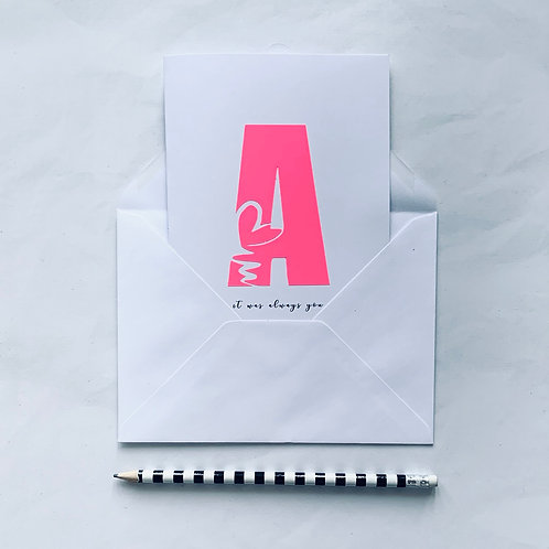 Initial Love Letter Card