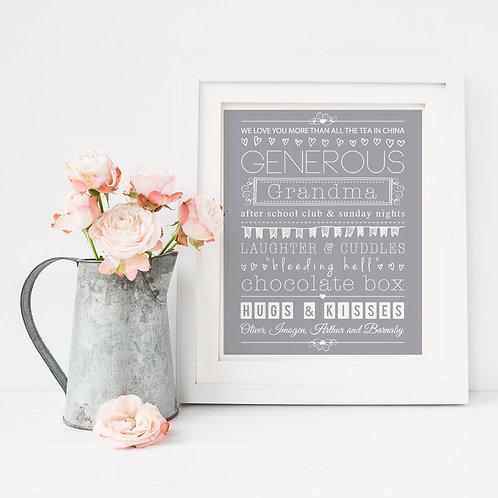 Grandma Personalised Print