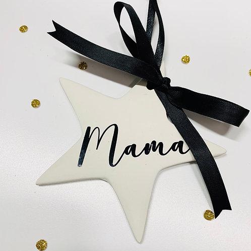 personalised ceramic star christmas bauble