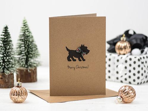 Sottie Dog Tartan Bow Christmas card