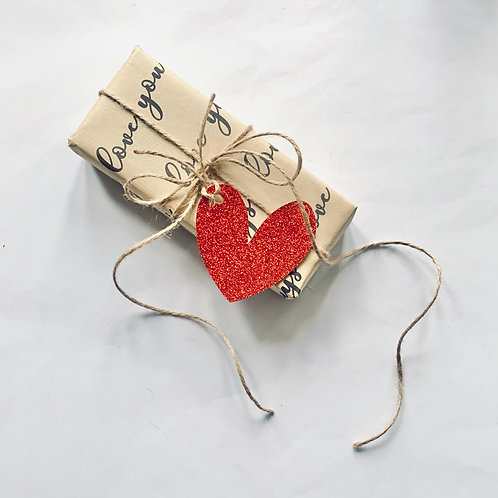 Glitter Heart Gift Tag - Pack of 3