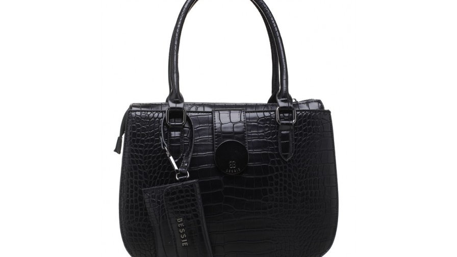 Bessie London Black Croc Print Tote with Detachable Card Holder
