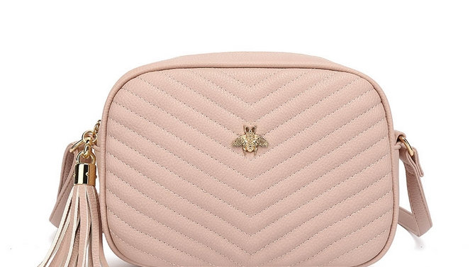Light Pink Quilted Camera Style Bee Embellished Crossbody