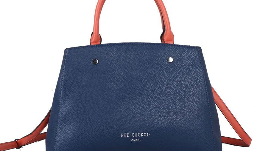 Red Cuckoo Navy Tote with Contrast Straps