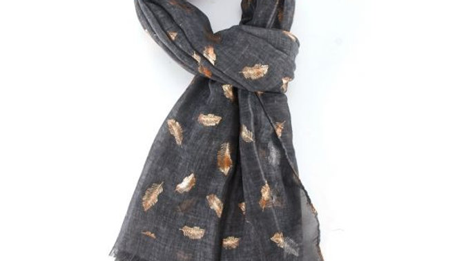 Charcoal Rose Gold Feathers Scarf