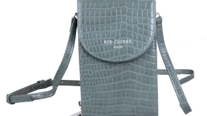 Red Cuckoo Mint Croc Effect Cross Body Pouch