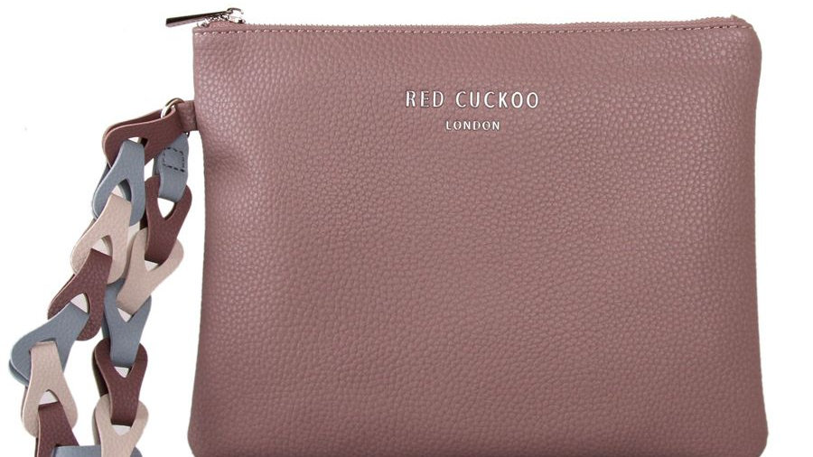 Red Cuckoo Dusky Purple Clutch with Contrast Wrist Strap