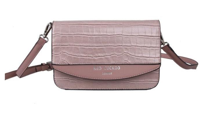 Red Cuckoo Pink Croc Effect Cross Body Bag