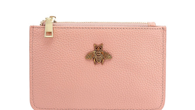 Pink Leather Bee Coin Purse