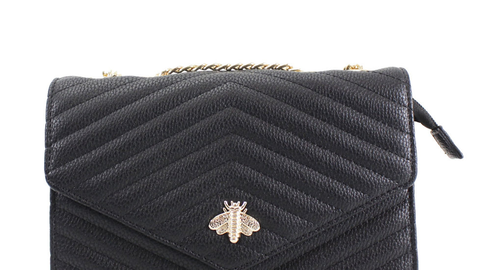 Black Quilted Bee Embellished Crossbody with Chain Strap