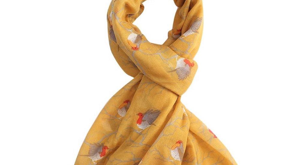 Mustard Yellow Robin Print Scarf